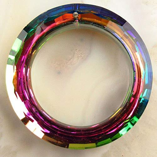 FidgetKute 1pcs Faceted Rainbow Titanium Crystal Donut Pendant Bead 50x9mm PY853 ()