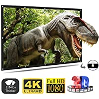 Pinch Electrons Projection Screen,Tasco Portable Movie Screen 120 Inch Anti-Crease Screen Thickened 16:9 HD Double Sided Projection with Hooks Rope Projector Screen for Home Theater Outdoor Indoor