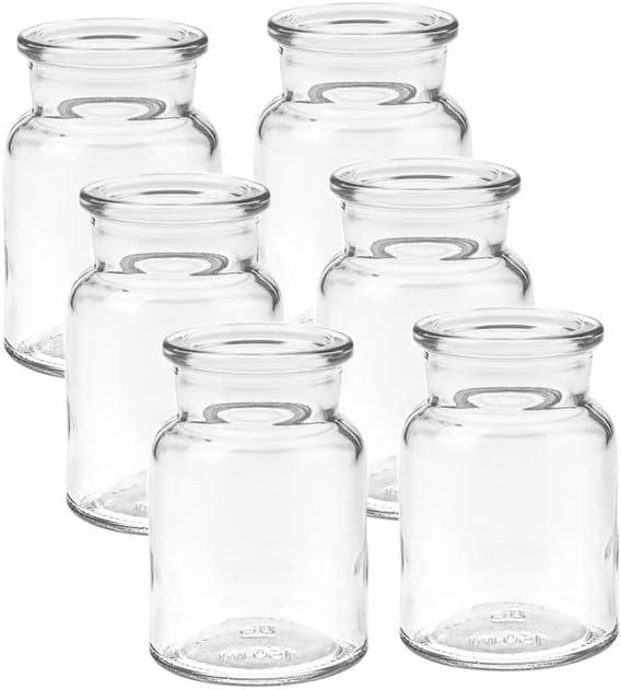 Vitrea 6/12/24/30 Unidades Mini jarrones Redondos de Cristal pequeñas Botellas Decorativas Botellas Botellas Botellas jarrones Botellas de Cristal florero, 6 Unidades
