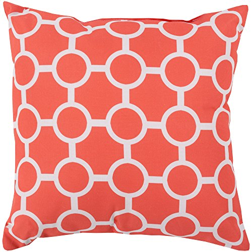 Surya RG120-1818 Indoor/Outdoor Pillow, 18-Inch by 18-Inch, Coral/Light Gray ()