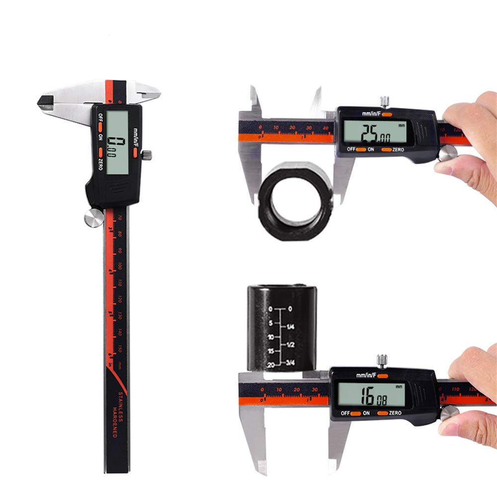 Digital Caliper 150mm 0-6 Inch Stainless Steel Electronic Vernier Caliper Gauge Micrometer Measuring Tool with Large LCD Screen
