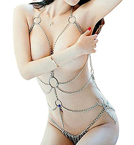 Sexemara Women's Lingerie Chain Set Cross Enticing Tassel Body Link Harness Sexy Metal Chain Set Sexy Body Chain