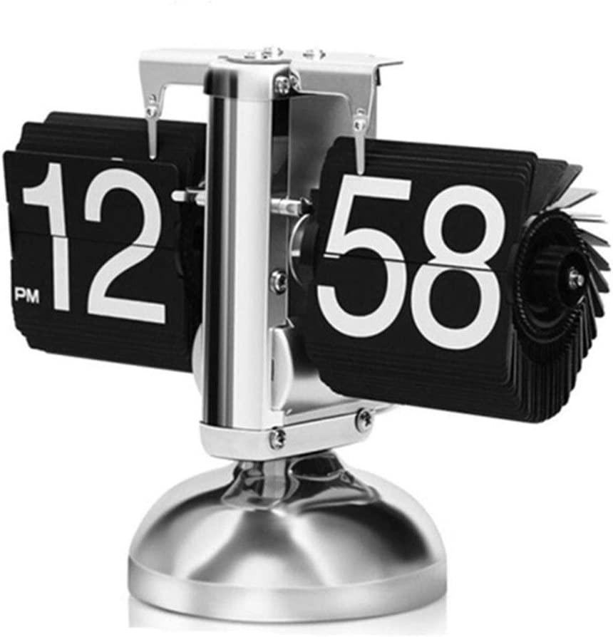 Lwieui Reloj de Mesa Casual Retro Digital Flip Down Clock con Pilas for Sala de Estar Decorativa Relojes de Pared (Color : Black, Size : 19.5X17 cm)