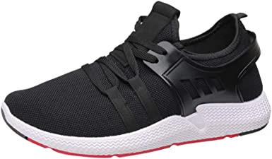 WUAI Spring Summer Sneakers Mens Casual Lace-up Sports Shoes Mesh Breathable Non-Slip Light Running Shoes