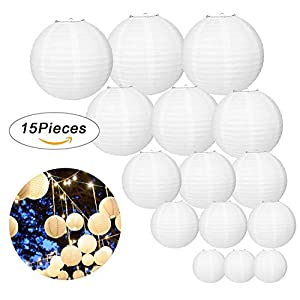 LURICO 15 Pcs White Paper Lanterns Round Chinese / Japanese Hanging Lanterns Lamps for Birthday Wedding Christmas Party Home Decorations (Assorted Sizes)
