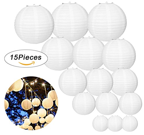 LURICO 15 Pcs White Paper Lanterns Round Chinese / Japanese Hanging Lanterns Lamps for Birthday Wedding Christmas Party Home Halloween Decorations (Assorted Sizes)