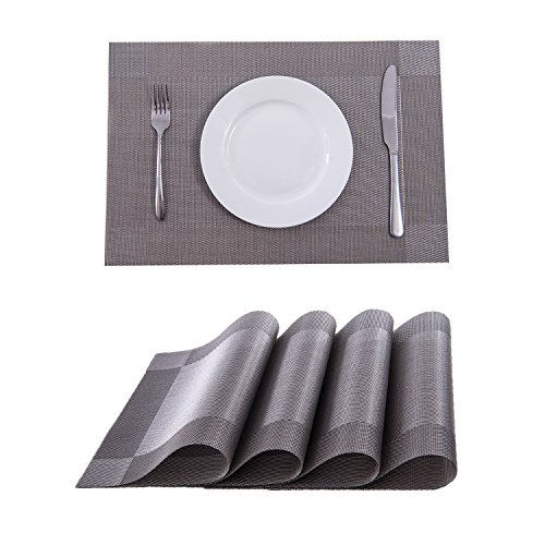 Set of 4 Placemats,Placemats for Dining Table,Heat-resistant Placemats, Stain Resistant Washable PVC Table Mats,Kitchen Table mats(Silver)