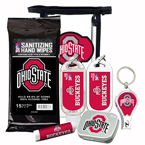 Ohio State Buckeyes 6-Piece Fan Kit with Decorative Mint Tin, Nail Clippers, Hand Sanitizer, SPF 15 Lip Balm, SPF 30 Sunscreen, Sanitizer Wipes. NCAA Gifts for Men and Women