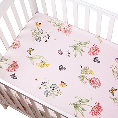 Brandream Floral Crib Sheet Butterfly Baby Bedding Pink Girl Fitted Cotton Crib Sheet Cute Chic Baby Nursery Bedding, (Butterfly Crib Sheet Set)