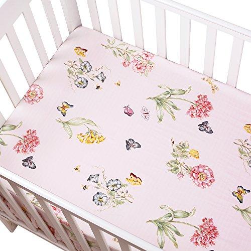 Designer Crib - Brandream Floral Crib Sheet Butterfly Baby Bedding Pink Girl Fitted Cotton Crib Sheet Cute Chic Baby Nursery Bedding, 800TC