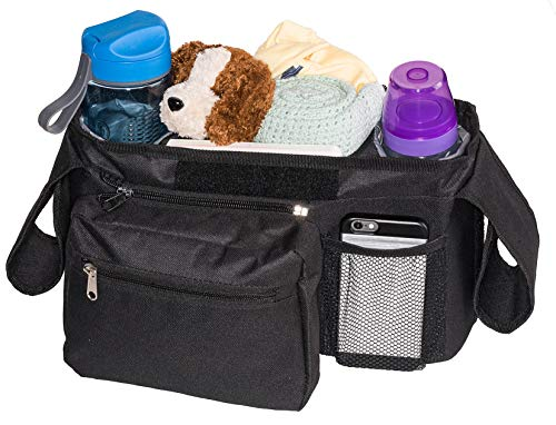 Bubclub's Baby Stroller Organizer - Lightweight Bag with Insulated Cup Holders & Lots of Storage for All Your Baby Accessories - Lovely Packaging for a Great Gift for New Moms ()