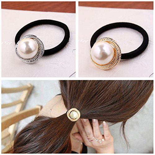 Casualfashion 4Pcs Korean Fashion Women Girls Hair Ties with Pearls Elastic Hair Bands Rings Ropes Ponytail Holder (Elastic Pearl Ring)