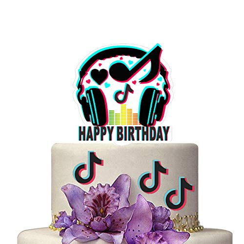 Tik Tok Happy Birthday Banner,TIK TOK Cake Topper,Hot Music Note Themed Topper and Banner Party Decoration Supplies Shot Video Fans for Musical Party Sharing
