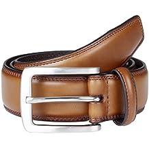 Sportoli Men's Genuine Leather Classic Stitched Casual Belt - Black Brown Tan