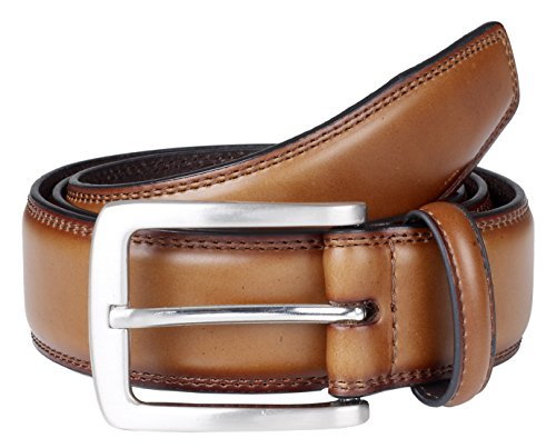 Sportoli Mens Genuine Leather Classic Stitched Casual Belt - Whiskey (Size 48)