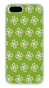 iPhone 5S Cases and Covers,Floral Pattern And Green Background Custom Slim Hard Case Snap-on PC Plastic Case Cover Shell for Apple iPhone 5S/5 White