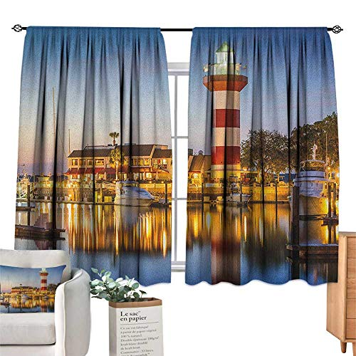 familytaste United States,Valance Curtains Hilton Head South Carolina Lighthouse Twilight Water Reflection Boats Idyllic Window Drapes for Bedroom W72 x L63