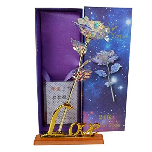 LY EMMET Colorful Rose Artificial Gold Roses Flower Unique GiftsValentine's Day Thanksgiving Mother's Day Girl's Birthday, Best Gifts for Her for Girlfriend Wife Women (Flowers And Gifts)