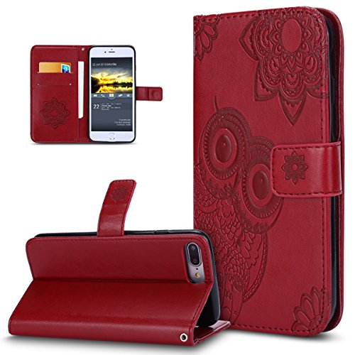 Iphone 8 Plus Case Iphone 7 Plus Case Ikasus 3D Relief Embossed Henna Mandala Floral Owl Pu Leather Fold Flip Wallet Cover Stand Card Slots Protective Case Cover For Iphone 7 Plus   Iphone 8 Plus Red