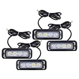 strobes lights for cars - Astra Depot 4-LED White & Amber Waterproof Emergency Beacon Flash Caution Strobe Light Bar 16 different flashing Car SUV Pickup Truck Van (4 pcs)