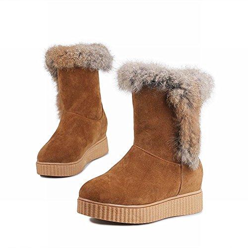 Latasa Dames Faux Fur Flats Korte Slouch Winter Snowboots Bruin Geel (faux Nubuck)