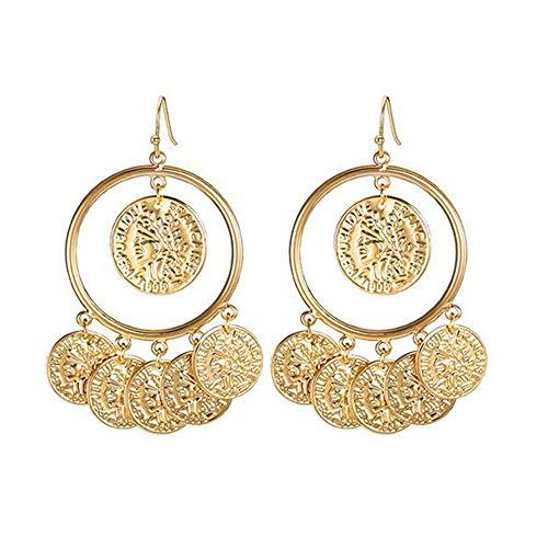 Vintage Ethnic Round Coin Embossed Portrait Earrings Retro Dangle Drop Dangle Hook Earrings For Women Jewelry ()