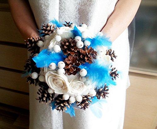Winter wedding frozen wonderland BOUQUET Cream Flowers, pine cones, raw cotton, feathers, frozen fruits, sola roses, -