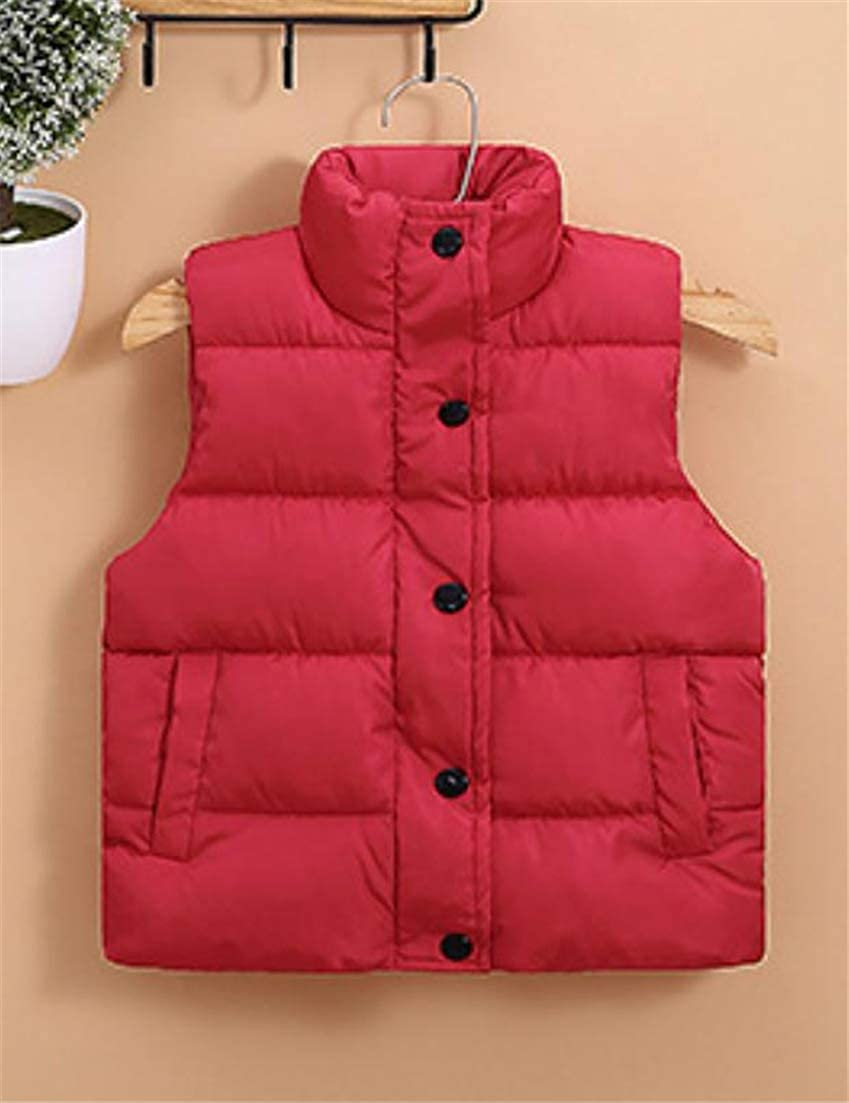 Cromoncent Boys Girls Outer Quilted Parkas Stand Collar Waistcoat Down Vest