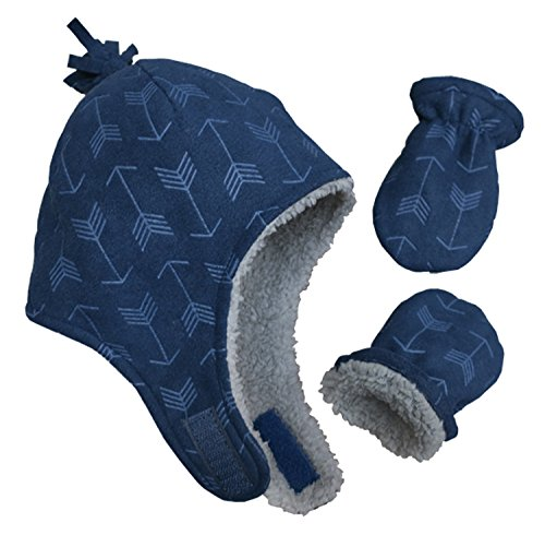 N'Ice Caps Little Boys and Baby Sherpa Lined Micro Fleece Pilot Hat Mitten Set (6 - 18 Months, Navy/Embossed Arrow Print Infant)