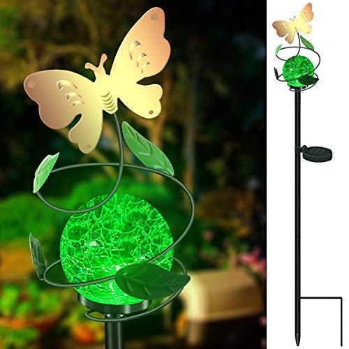 Color Changing Solar Stake Lights Outdoor - VUV Powered Glass Ball Led Garden Lights Rechargeable Solar Decor Statues Outdoor Waterproof Solar Night Patio Lights (Butterfly)