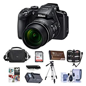 Nikon Coolpix B700 Digital Point & Shoot Camera, Black - Bundle With 32GB SDHC Card, Spare Battery, Camera Bag, Tripod, Memory Wallet, Card Reader, Quick Charger, Cleaning Kit, Software Package by Nikon