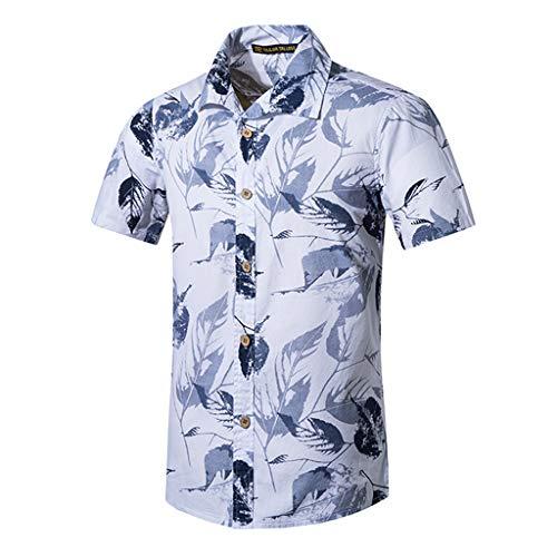 Men Women Summer Fashion Casual New Beach Style Printing Cotton Short Sleeve Hawaiian Shirt T-Shirt Tops ()