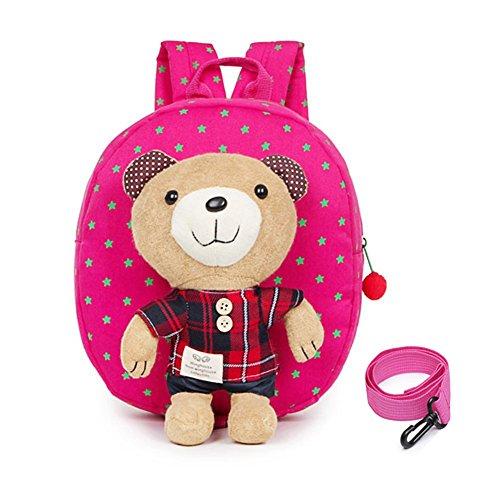 EchoFun Toddler Safety Harness Children Backpack Toddler School Bag Rucksack Children Shoulder Bag with Detachable Soft Toy Reins (Rose Red Plaid)