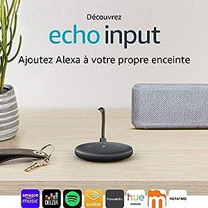 Echo Input, Noir – Ajoutez Alexa à votre propre enceinte – Enceinte externe avec entrée audio 3,5 mm ou Bluetooth nécessaire
