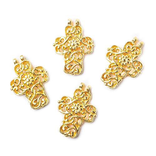 20x15mm 22kt Gold Plated Filigree Cross Charm Set of 4 ()