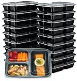 EZ Prepa [20 Pack] 32oz 3 Compartment Meal Prep Containers with Lids - Bento Box - Durable BPA Free Plastic Reusable...