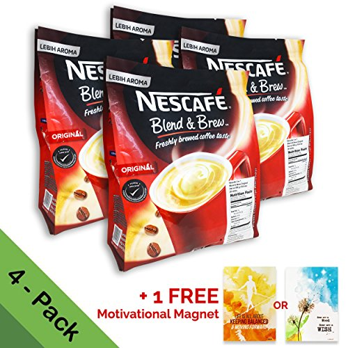 [4 PACK] Nescafé 3 in 1 Instant Coffee Sticks ORIGINAL - Best Asian Coffee Imported from Nestle Malaysia (112 -