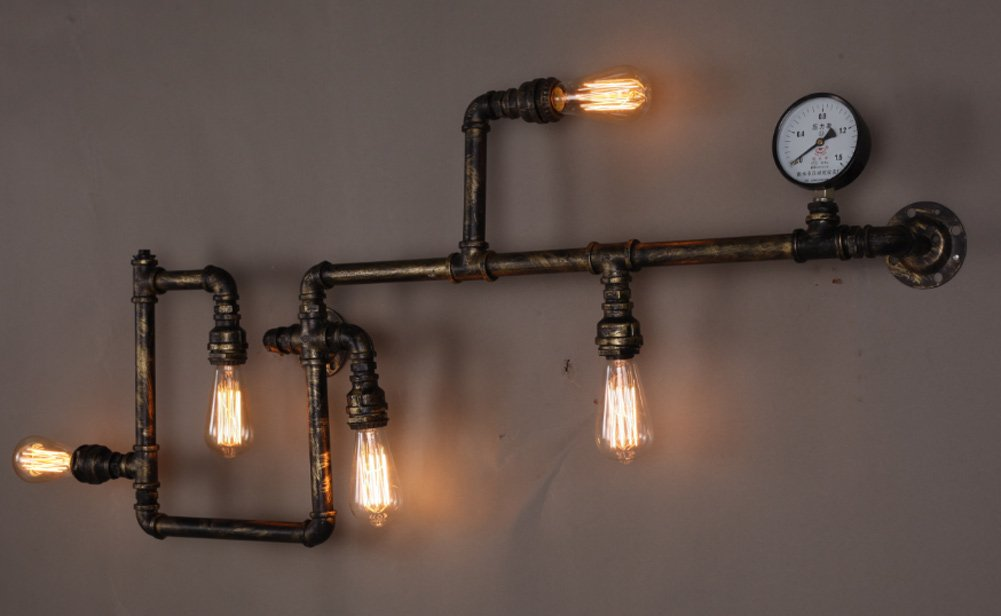 Lingkai vintage industrial retro metall wasser rohr wand for Vintage lampen
