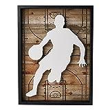 "NIKKY HOME Outdoors Sports Basketball Wooden Framed Wall Art Decor, 12"" x 16"""