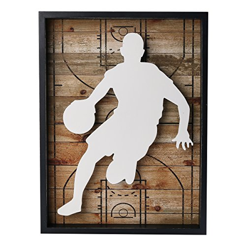 (NIKKY HOME Outdoors Sports Basketball Wooden Framed Wall Art Decor, 12