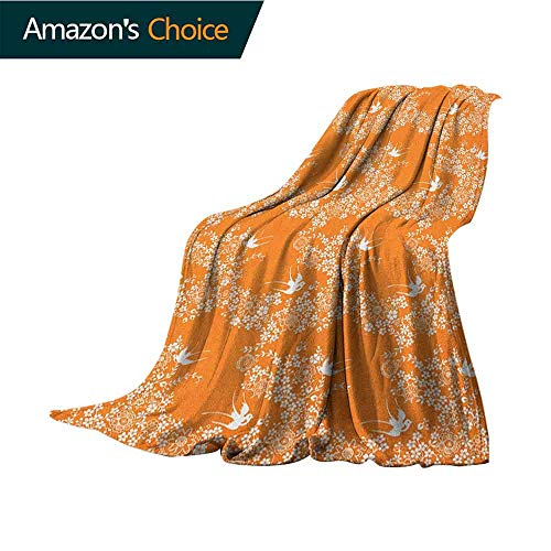 Orange Queen Size Blanket,Asian Style Spring Meadow Pattern with Branches in Full Blossom with Birds Nature Winter Luxury Plush Microfiber Fabric,35