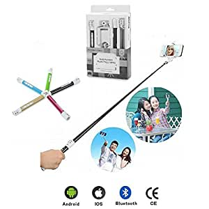 NANKY New Popular Ultra Light Carbon Fiber Bluetooth Extended Selfie Stick for Iphone/android W Shutter and Zoom Buttons - Includes Carrying Case + Mini Tripod!(black)