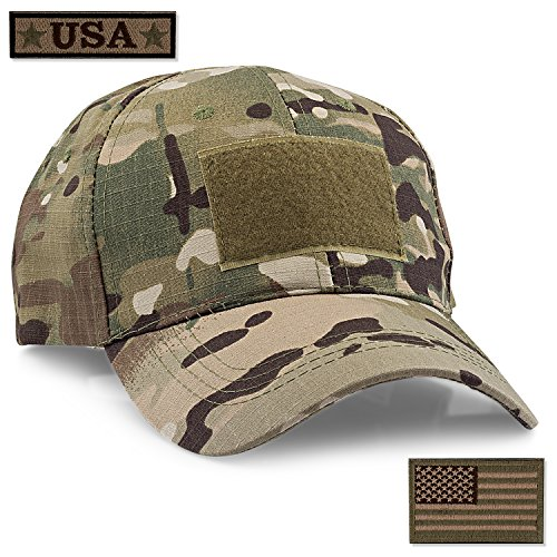 STEVEN G Tactical Military Hat Adjustable Baseball Cap 6 Vent Holes USA Flag for Hunting Fishing Hiking Outdoor Life Men Women Teens Fits Most Head Sizes 2 Interchangeable Patches Included, Camo ()