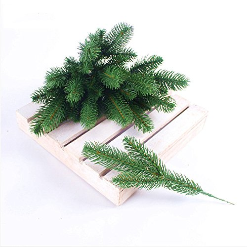 JAROWN 25pcs Artificial Pine Green Leaves Needle Garland for Christmas Embellishing and Home GardenDecor ()