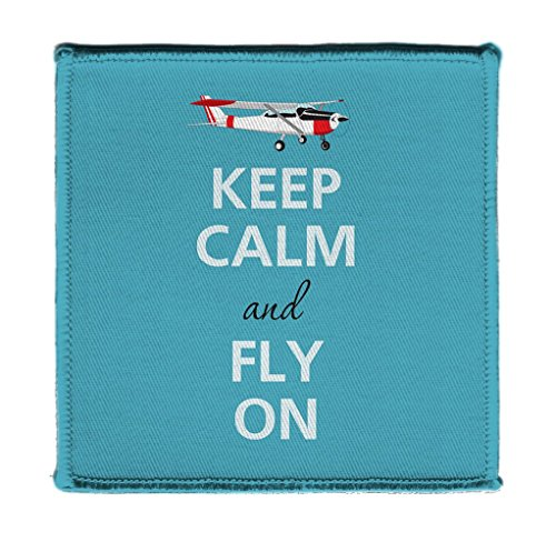 Airplane Applique - Keep Calm AND FLY ON AIRPLANE BLUE - Iron on 4x4 inch Embroidered Edge Patch Applique