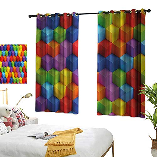 Bedroom Windproof Curtain Abstract Girl Room Blackout Curtain Geometric Art Cube 63