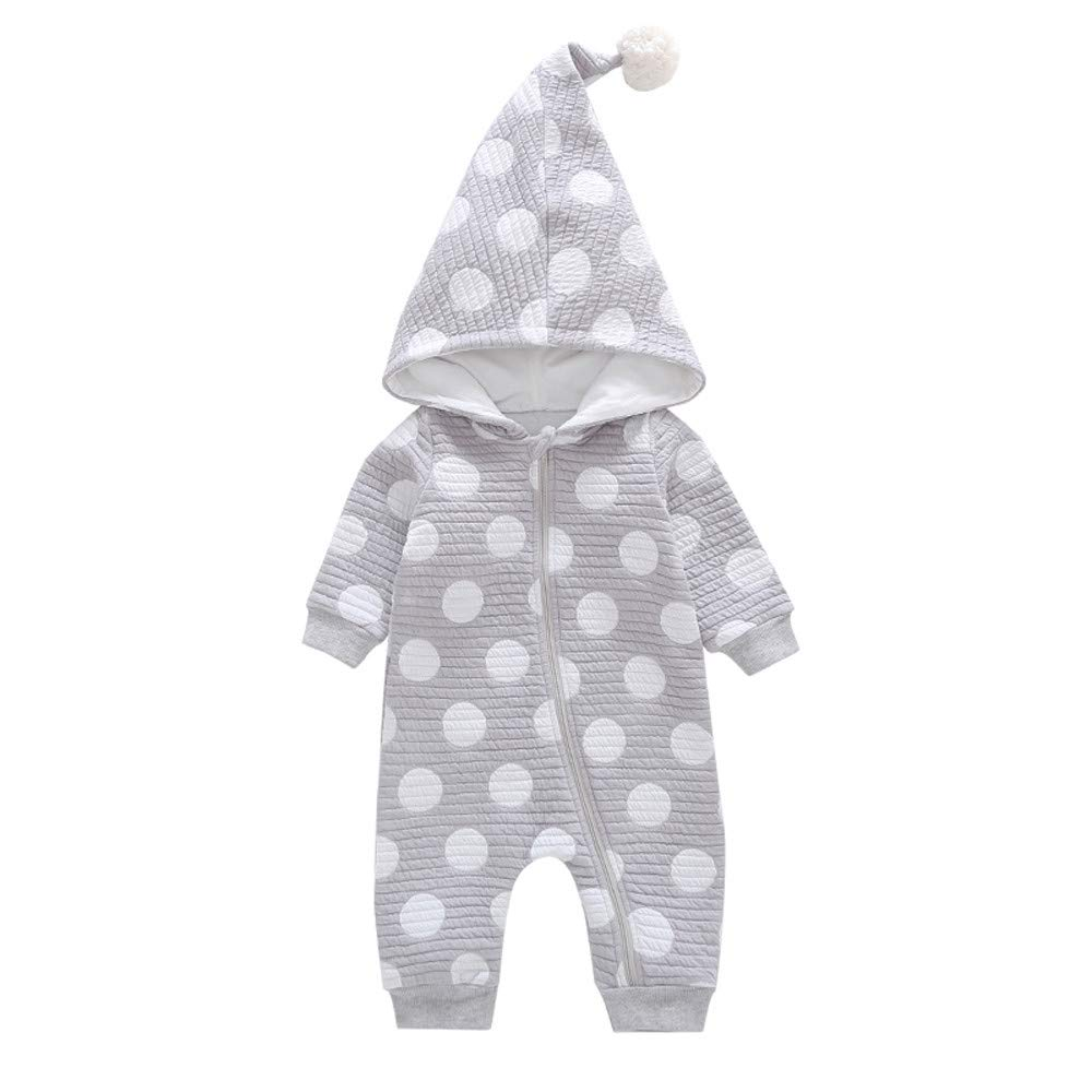 Waymine Infant Baby Girls Boys Wave Point Hair Ball Hooded Romper Jumpsuit 0-24M