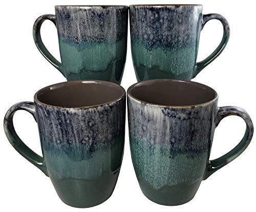 Reactive Glaze Coffee Mugs | Set of 4 (Green) | 16oz Ceramic Tapered Mugs | Microwave & Dishwasher -