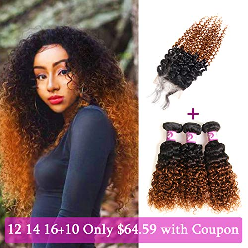 Racily Hair 8A Grade 3 Bundles Ombre Brazilian Curly Hair with Closure Color 1B to 30 Free Part Brazilian Virgin Hair Kinky Curly with Lace Closure (16
