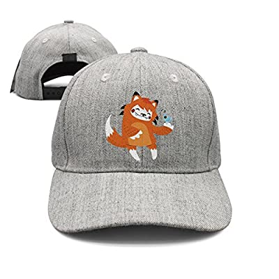 Cartoon Fox Dancing with Bird Woolen Peak Cap Snapback Hat Visor Hats